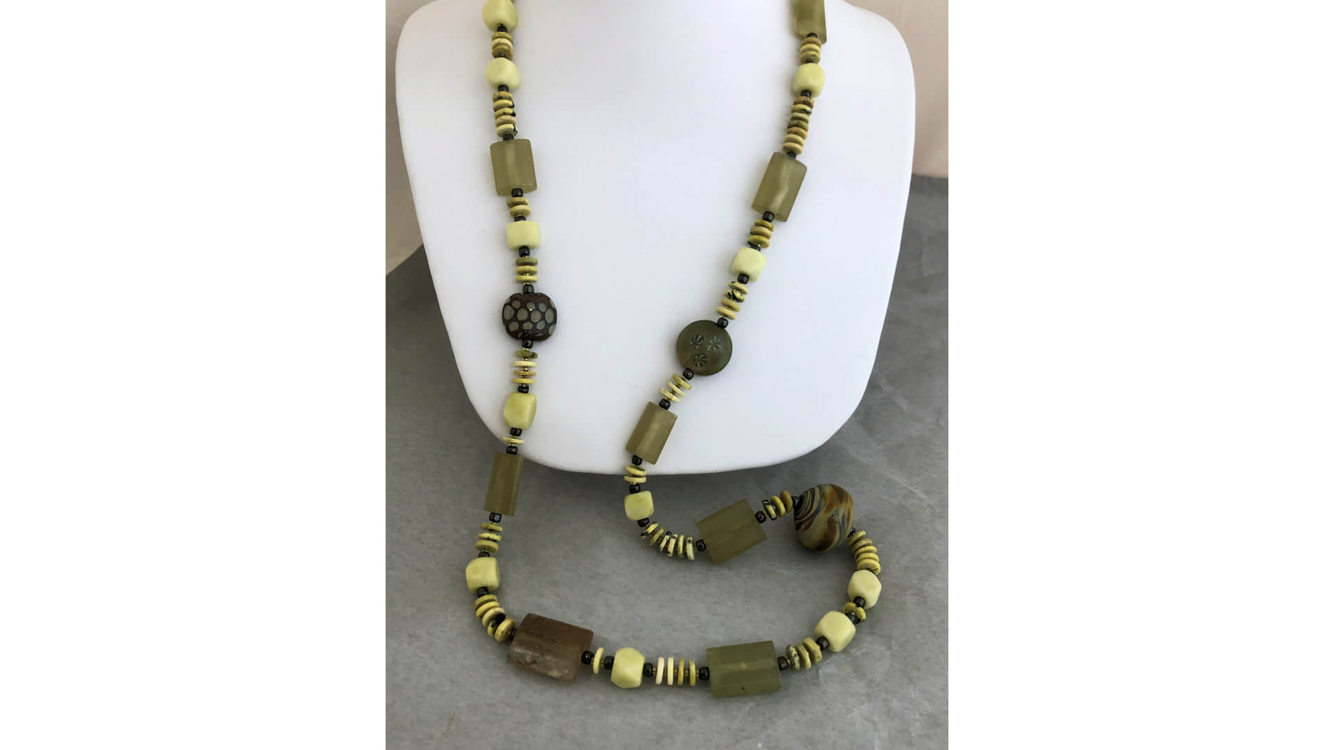Olive and Lemon Beaded Necklace by Susan Hazer Designs