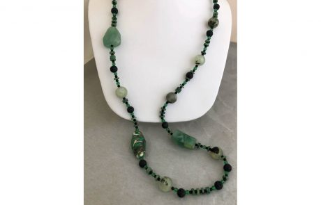 Green and Black Beaded Necklace by Susan Hazer Designs