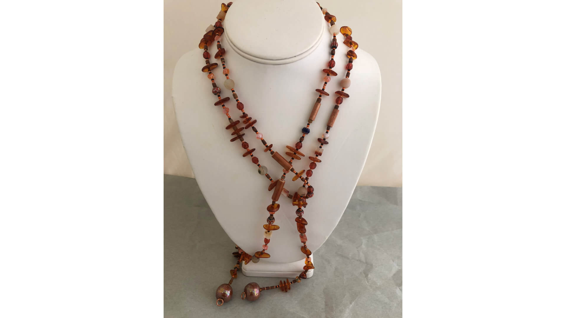 Amber and Rust Beaded Lariat Necklace by Susan Hazer Designs