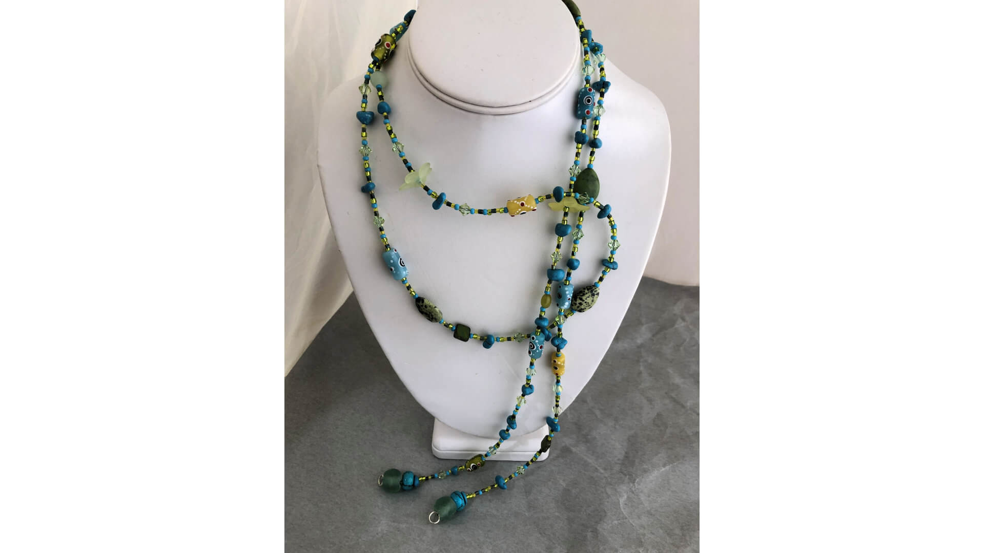 Aqua and Green Beaded Lariat Necklace by Susan Hazer Designs