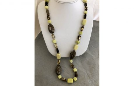 Yellow and Green Beaded Necklace by Susan Hazer Designs