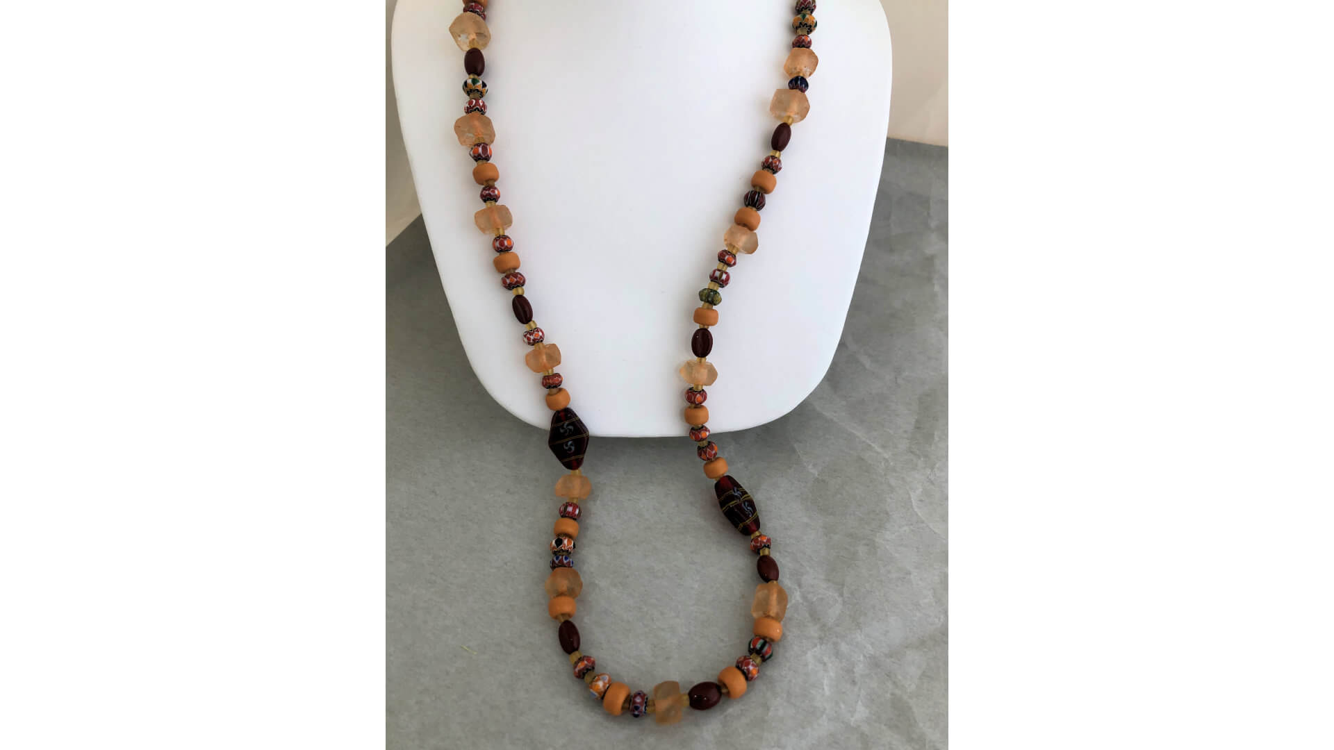 Copper and Burnt Orange Beaded Necklace by Susan Hazer Designs