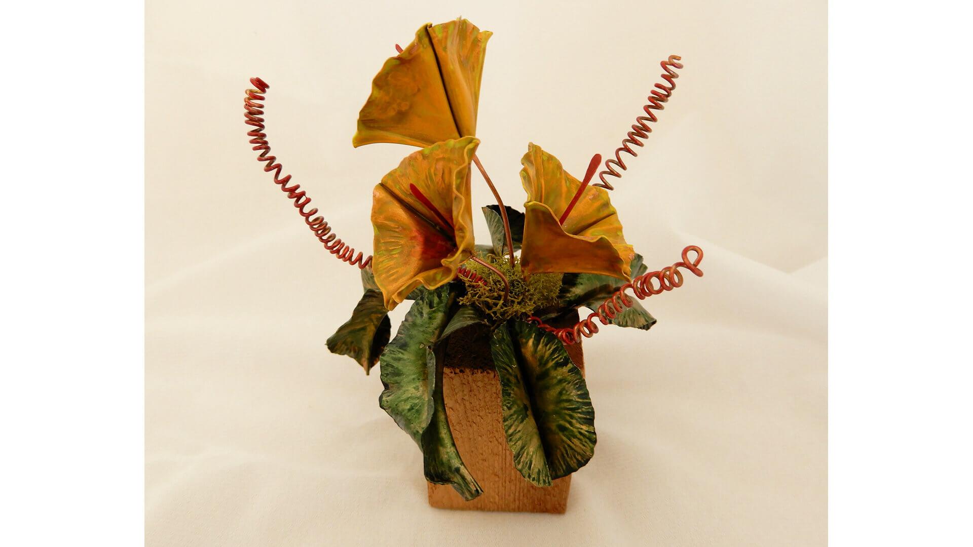 Yellow Bouquet Copper Sculpture by Susan Hazer Designs
