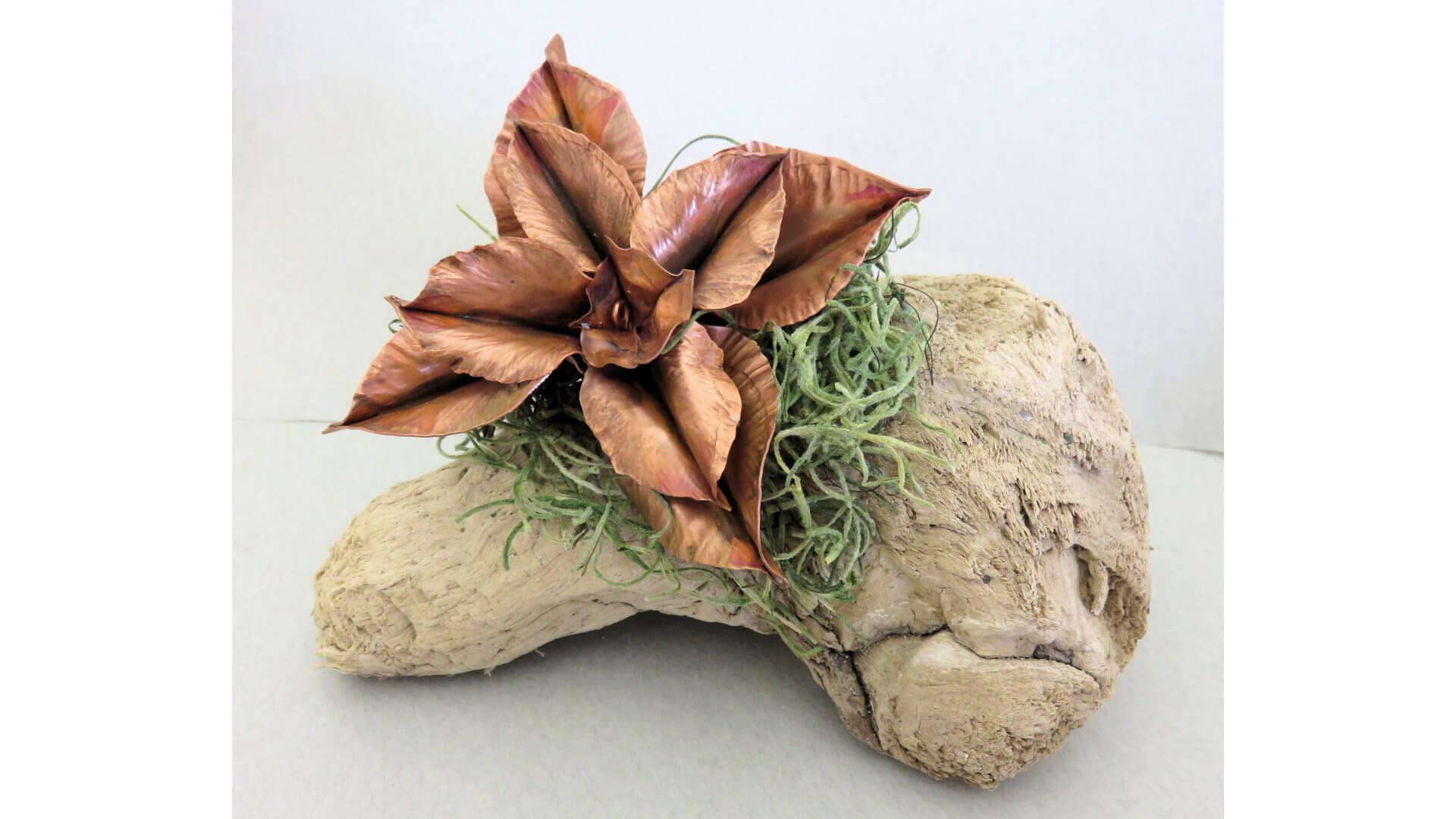 Copper Flower on Driftwood