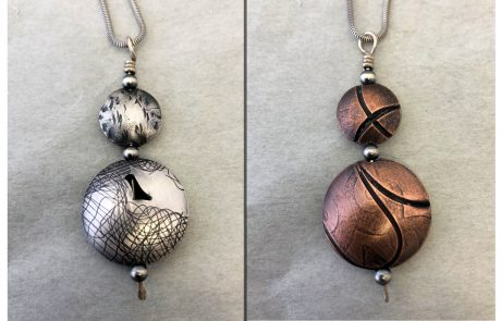 Hollow Form Double Bead Pendant by Susan Hazer Designs
