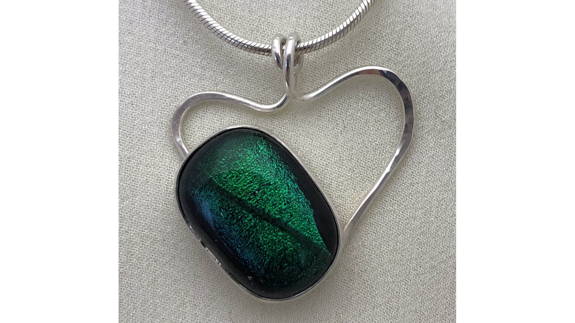 Green Fused Glass on Silver