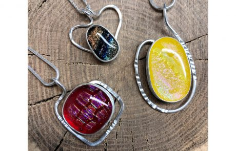 Fused Glass Pendant Trio